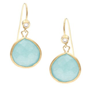 Rivka Friedman 18k Goldplated Blue Quartzite and CZ Hook Earrings
