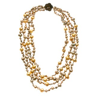Golden and Brown Freshwater Pearl 4-strand 20-inch Necklace (4-9 mm)