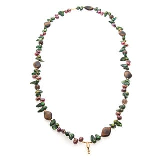 Multi-colored FW Pearl, Tiger's Eye and Smokey Quartz Necklace (6-8 mm)