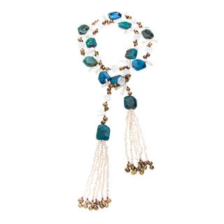 Gold FW Pearl, Chrysocolla, Garnet and Crystal Lariat-style Necklace (5-8 mm)