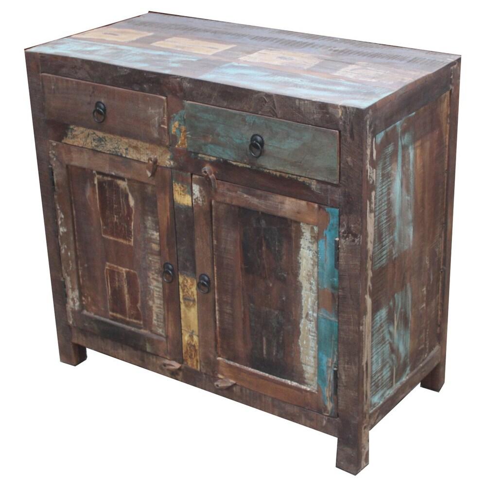 Timbergirl Handmade Reclaimed Wood 2-door Sideboard Cabinet (India) (Recalimed wood 2 door sideboard)