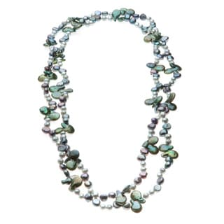 Green and Grey Freshwater Pearl Long 61-inch Necklace (5-13 mm)