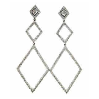 Kabella Luxe 18k White Gold 1 1/3ct TDW Dangling Diamond Earrings (G-H, VS1-VS2)