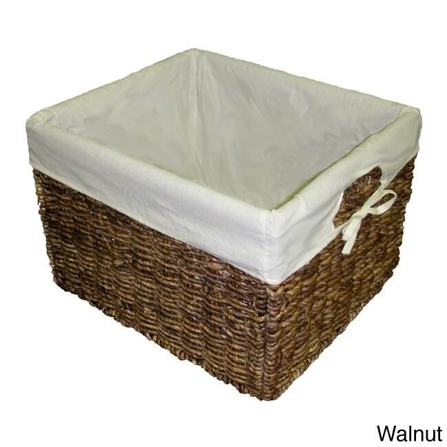 Handcrafted Large Woven Maize Rectangular Storage Baskets Set