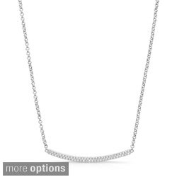 Victoria Kay Sterling Silver 1/3ct TDW Diamond Curved Bar Necklace (J-K, I2-I3)