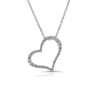 Victoria Kay Sterling Silver 1/4ct TDW Diamond Slanted Heart Pendant