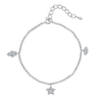Victoria Kay Sterling Silver 1/4ct TDW Adjustable Diamond Hamsa, Evil Eye and Star Charm Bracelet (Option: Evil Eye)