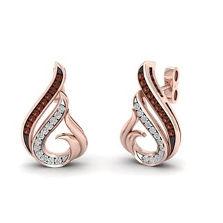 De Couer 10k Rose Gold 1/10ct TDW Cognac Diamond Stud Earring