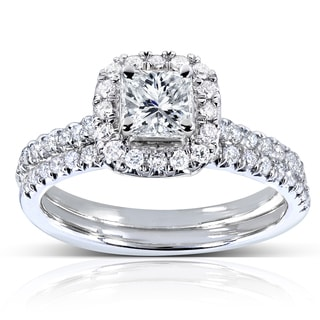 Annello by Kobelli 14k White Gold 7/8ct TDW Princess and Round-cut Halo Diamond Bridal Set