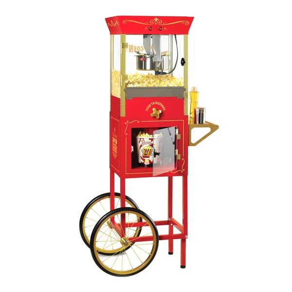 Nostalgia CCP810 59-inch Tall Vintage Collection 8 oz. Kettle Popcorn Dispensing Cart