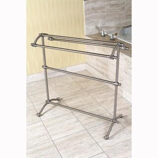 Brushed Nickel Pedestal Towel Rack - Grey