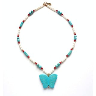 Every Morning Design Turquoise Butterfly On Mother Of Pearl Necklace