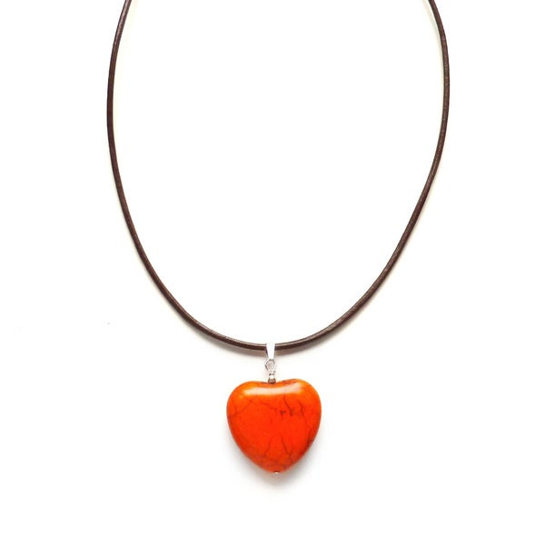 Every Morning Design Orange Turquoise Heart and Leather Necklace