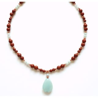 Every Morning Design Amazonite Drop On Red Jasper Necklace