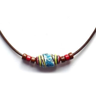 Every Morning Designs Red Blue and Yellow Peruvian Bead Necklace