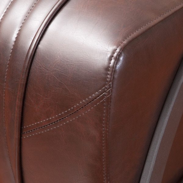 Baldwin Brown Leather Slipper Chair By Christopher Knight Home   Free  Shipping Today   Overstock.com   15698988