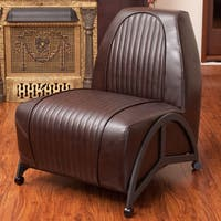 Baldwin Brown Leather Slipper Chair by Christopher Knight Home