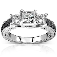 Annello 14k White Gold 1 3 8ct Tdw Black And Stone Diamond