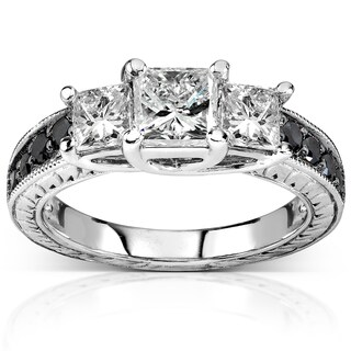 Annello 14k White Gold 1 3/8ct TDW Black and White 3-Stone Diamond Engagement Ring
