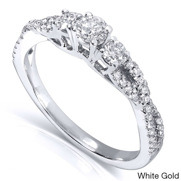 Annello 14k Gold 2/5ct TDW Three Stone Braided Diamond Ring (H-I, I1-I2)