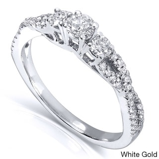Annello 14k Gold 2/5ct TDW Three Stone Braided Diamond Ring