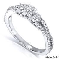 Annello by Kobelli 14k Gold 2/5ct TDW Three Stone Braided Diamond Ring