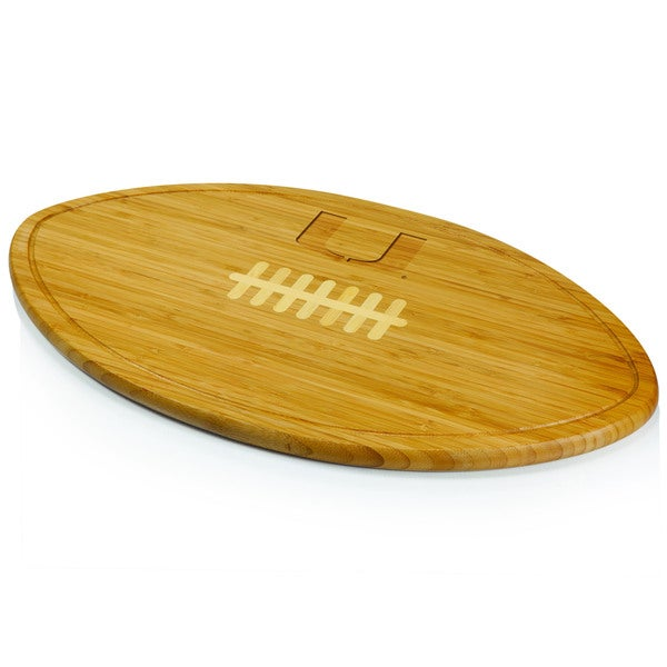 Picnic Time Kickoff University of Miami Hurricanes Engraved Natural Wood X- Large Cutting Board - Brown