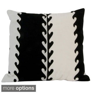 Handmade Black and White Velveteen Pillow (Peru)