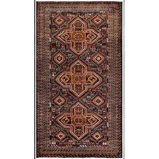 Herat Oriental Afghan Hand-knotted Tribal Balouchi Navy/ Ivory Wool Area Rug (3'8 x 6'7)