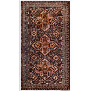Herat Oriental Afghan Hand-knotted Tribal Balouchi Wool Area Rug (3'8 x 6'7)