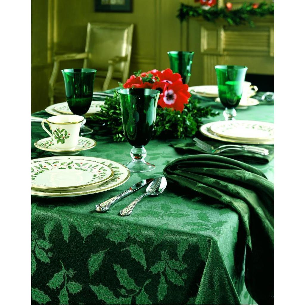 Lenox Holly Damask Green Tablecloth (60 X 102 Oblong) (Co.