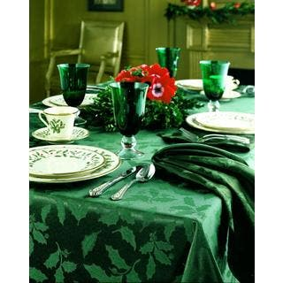 Lenox Holly Damask Green Tablecloth|https://ak1.ostkcdn.com/images/products/8397662/8397662/Lenox-Holly-Damask-Green-Tablecloth-P15699144.jpg?impolicy=medium