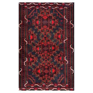 Herat Oriental Afghan Hand-knotted Tribal Balouchi Wool Area Rug (3'6 x 5'9)