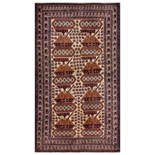 Herat Oriental Afghan Hand-knotted Tribal Balouchi Wool Area Rug (3'9 x 6'4)