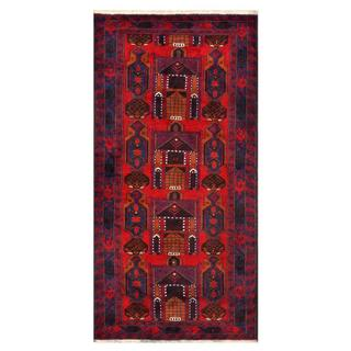 Herat Oriental Afghan Hand-knotted Tribal Balouchi Red/ Navy Wool Area Rug (3'2 x 6'7)