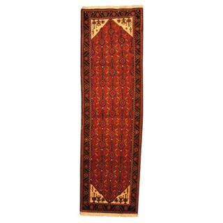 Herat Oriental Persian Hand-knotted Hamadan Burgundy/ Navy Wool Rug (3'1 x 10'2)