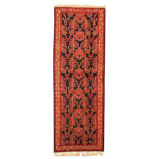 Herat Oriental Persian Hand-knotted Hamadan Navy/ Ivory Wool Rug (3'9 x 10'5)