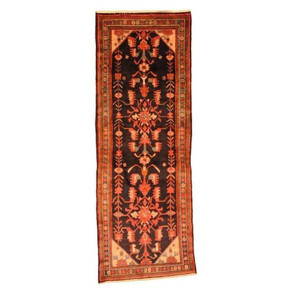 Herat Oriental Persian Hand-knotted Hamadan Wool Runner (3'7 x 10'1)
