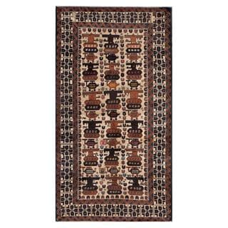 Herat Oriental Afghan Hand-knotted Tribal Balouchi Ivory/ Navy Wool Area Rug (3'4 x 6'3)