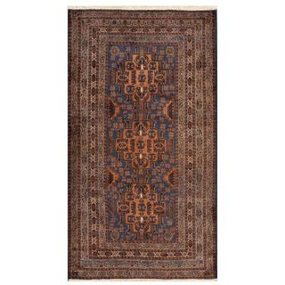 Herat Oriental Afghan Hand-knotted Tribal Balouchi Blue/ Ivory Wool Area Rug (3'11 x 7'1)