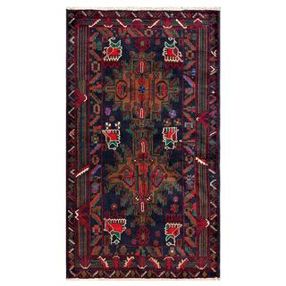 Herat Oriental Afghan Hand-knotted Tribal Balouchi Navy/ Red Wool Area Rug (3'7 x 6'4)