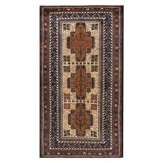 Herat Oriental Afghan Hand-knotted Tribal Balouchi Ivory/ Navy Wool Area Rug (3'8 x 6'9)