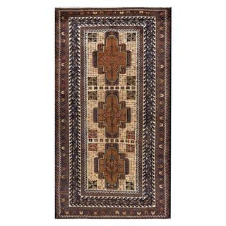 Herat Oriental Afghan Hand-knotted Tribal Balouchi Wool Area Rug (3'8 x 6'9)
