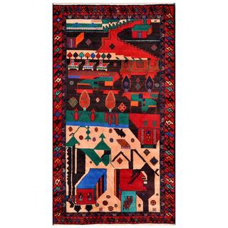 Herat Oriental Afghan Hand-knotted Tribal Balouchi Brown/ Ivory Wool Area Rug (3'6 x 6'4)