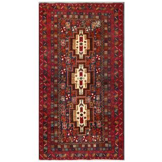 Herat Oriental Afghan Hand-knotted Tribal Balouchi Navy/ Red Wool Area Rug (3'7 x 6'8)