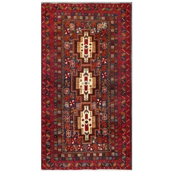 Handmade Herat Oriental Afghan Tribal Balouchi Wool Area Rug (Afghanistan) - 3'7 x 6'8