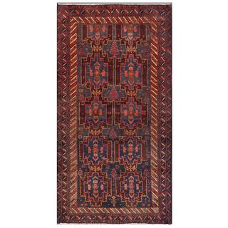 Herat Oriental Afghan Hand-knotted Tribal Balouchi Navy/ Brown Wool Area Rug (3'8 x 7')
