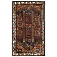 Herat Oriental Afghan Hand-knotted Tribal Balouchi Wool Area Rug (3'7 x 6'2) - 3'7 x 6'2