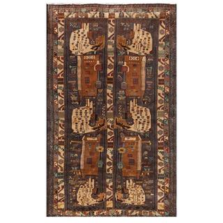 Herat Oriental Afghan Hand-knotted Tribal Balouchi Wool Area Rug (3'6 x 5'11)