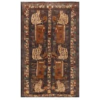 Herat Oriental Afghan Hand-knotted Tribal Balouchi Wool Area Rug (3'6 x 5'11) - 3'6 x 5'11
